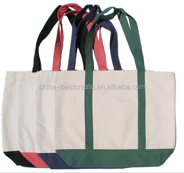 "19""x14""x5"" 12oz heavy cotton canvas boat bags with 24"" handles front pocket and bottom gusset from china factory"