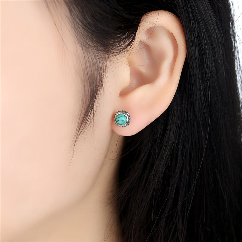 Pas431 Silver Blooms Earrings December Stone Turquoise Stud With Birthday Gems