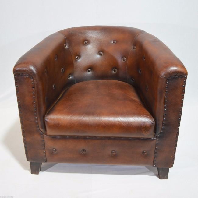 Sof de camur a marrom de couro envelhecido vintage sof - Mobiliario industrial vintage ...