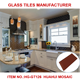 Reddish brown 3x6 beveled glass subway wall tile