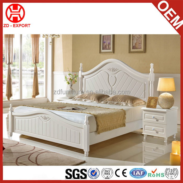 Solid Wood Frame Headboard and rubber wood frame bed