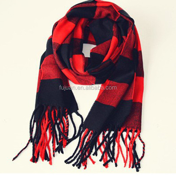 Cheap good gifts unisex color combination plaid fringe cashmere feel 100 acrylic infinity scarves