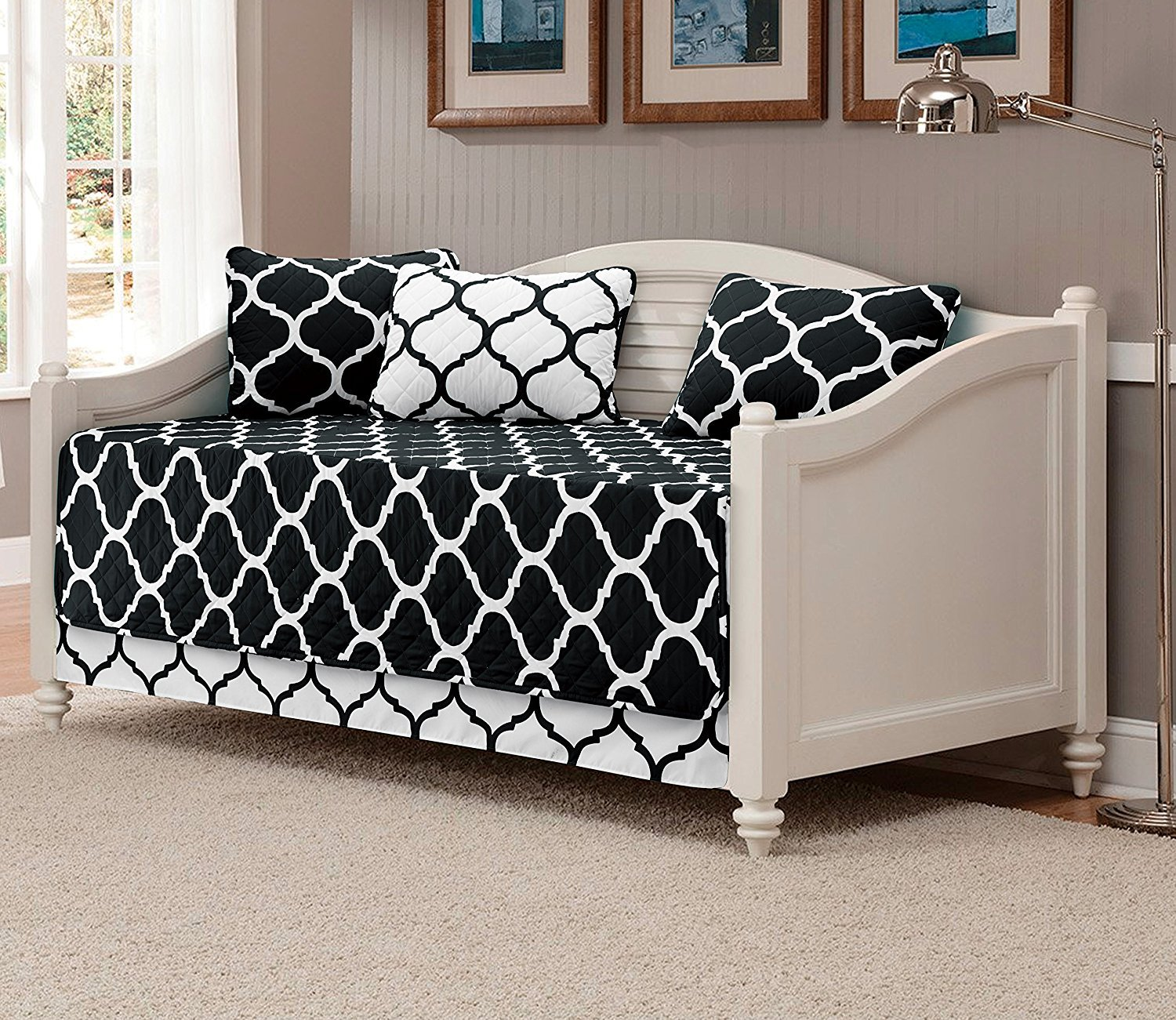 Fancy Collection 5pc DayBed Quilted Bedspread Coverlet Set Modern Geometric Black/White New