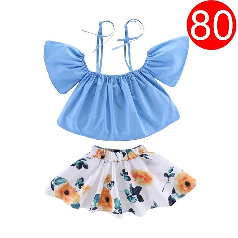 08fab84187a25 Get Quotations · Sundlight Baby Skirt Set, Cotton Girls Outfits Blue,2Pcs  Strap Off-Shoulder Tops