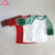 Christmas green stripe wholesale Baby Ruffle Sleeve Raglan Shirt Kids custom 3/4 sleeve white body infant green ruffle t-shirt