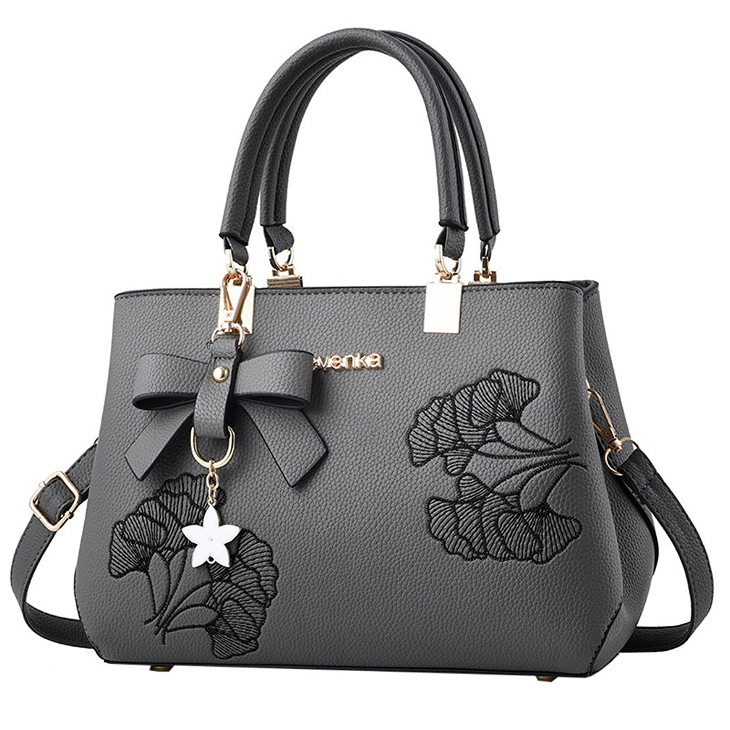 Handbags for Women - Bageek Satchel Handbags Top Handle Bag Women PU Leather Purses Black Handbag on Sale Satchel Bag with Flower Pendant
