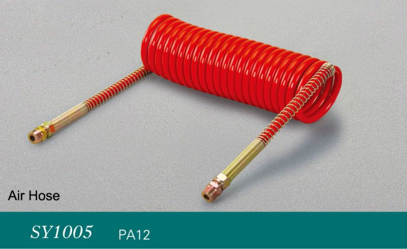 7M Flexible PU Recoil Pneumatic Spiral Hose Tube for Compressor Air Tool red
