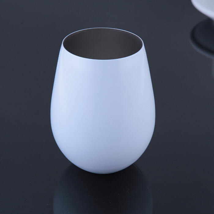 Unbreakable BPA Free colored stainless steel Stemless wine glass