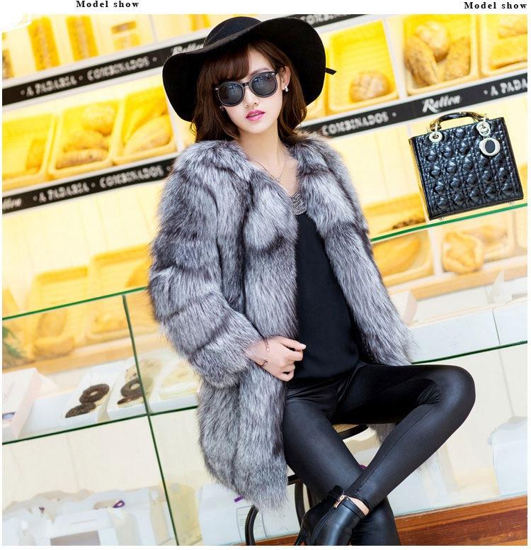Зима женщины из натуральной естественная серебро лисий мех пальто куртка средний длинная пиджаки настоящее лисий мех верхняя одежда