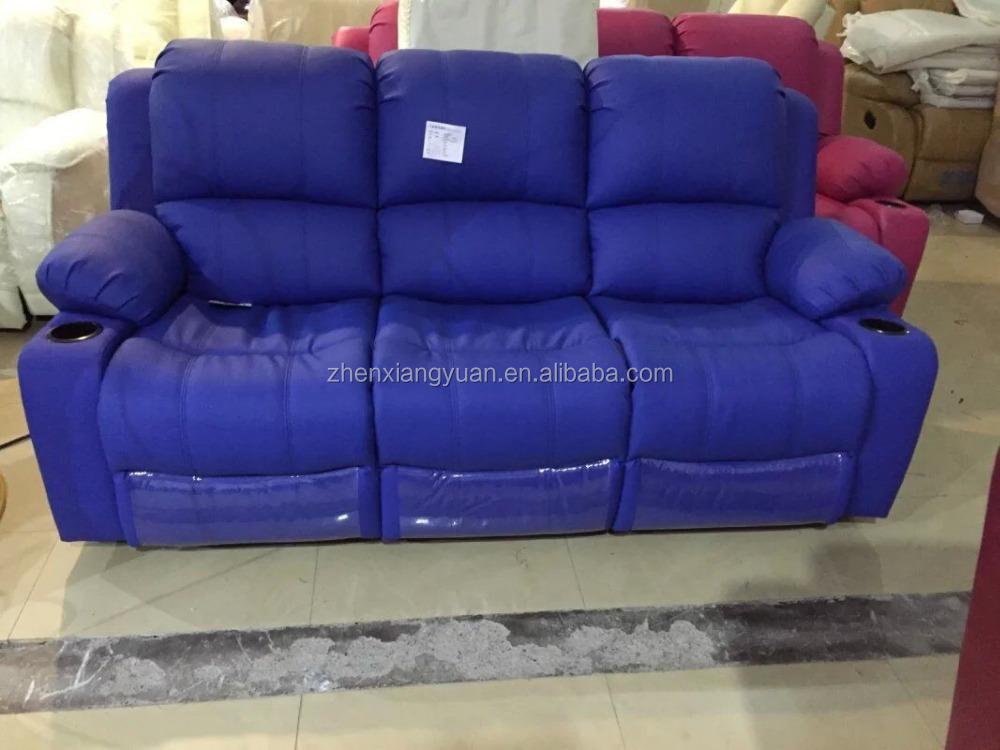 Blue Color Microfiber Leather Recliner Sofa/ Lazy Boy Recliner Sofa /three  Seats Leather Recliner Sofa Sf3648 - Buy Microfiber Leather Sofa,Three ...