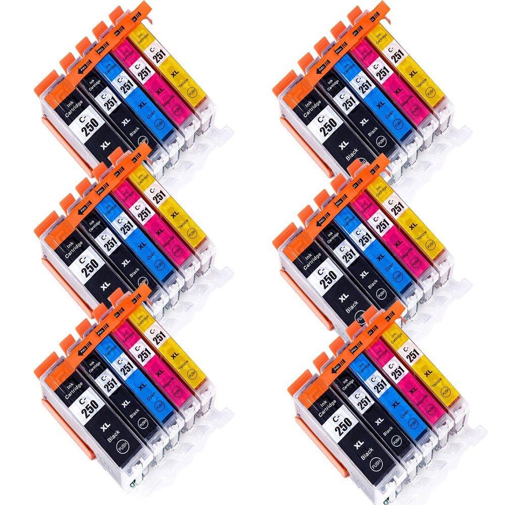 Wolfgray 30 PK Compatible Ink Cartridge PGI-250XL 250xl 251xl for PIXMA MX922 MG5522 MG5620 MG6620 MG6600 MX920 iX6820 iP7220 (6Large BK+6BK+6C+6M+6Y)