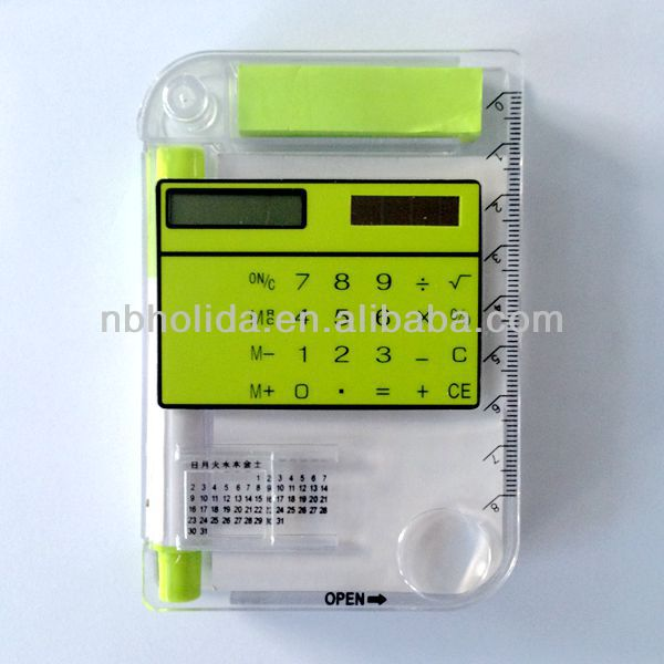 Calculator with sticky notes,calendar,pen,ruler/HLD818