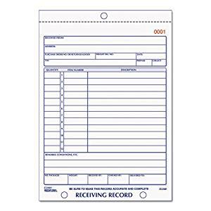 Rediform 2L260 Receiving Record Book, 5 9/16 X 7 15/16, Three-Part Carbonless, 50 Sets/book
