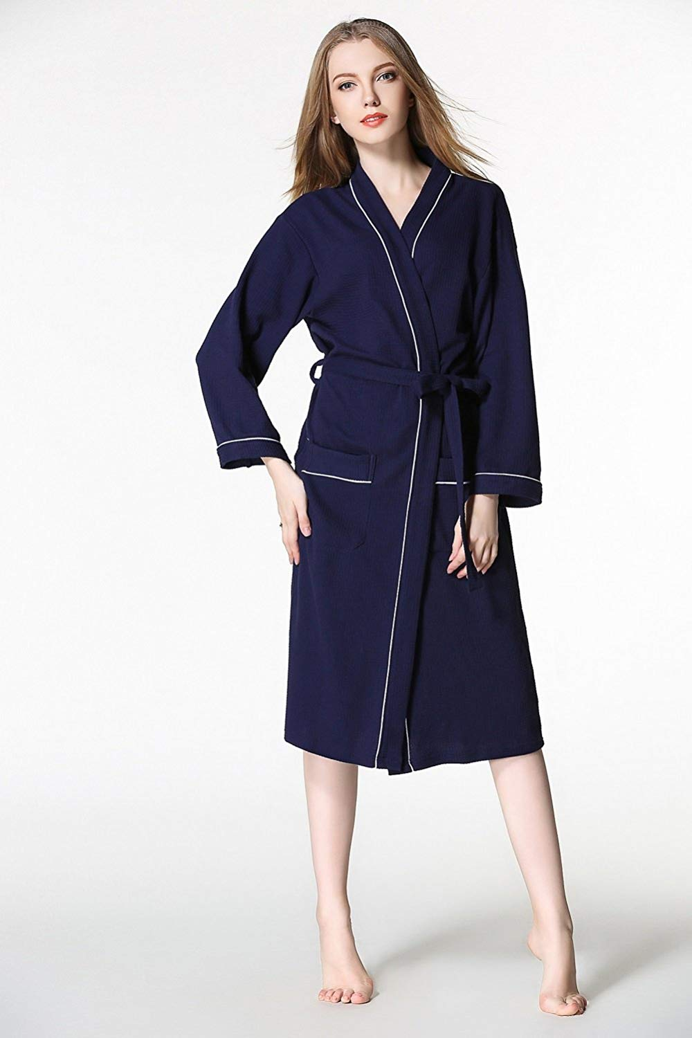 ce8e474955 Get Quotations · ALJL Lovers bathrobes soft cotton bathrobe hot spring gowns  knitted cotton comfortable breathable Navy blue bathrobes