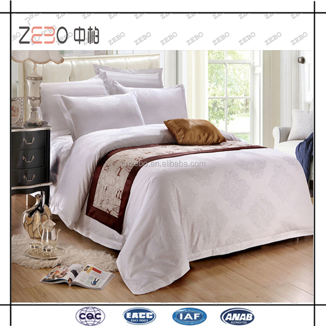 100% Cotton Jacquard Hotel Bedding Linens White Bed Sheets Manufacturers In  China