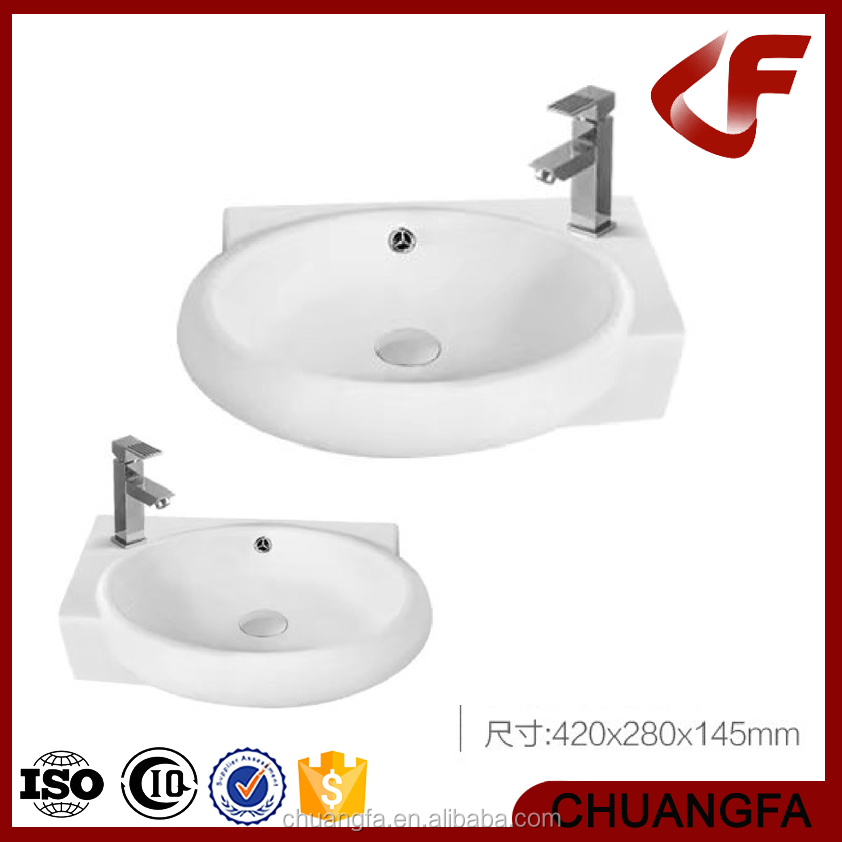 Quality white wall hung angle corner ceramics wash basin W-015