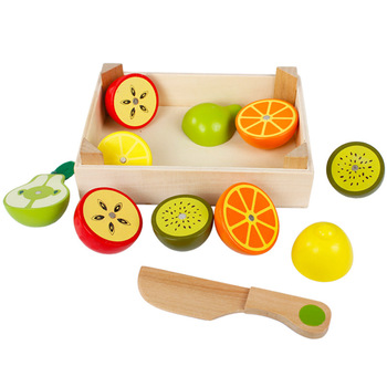 2019 kitchen toy play set Wooden Magnetic Fruit vegetables play food cutting set for kids WFT13