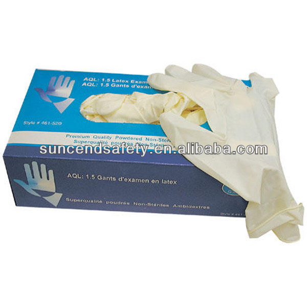 Disposable latex gloves,surgical gloves,white latex examination gloves