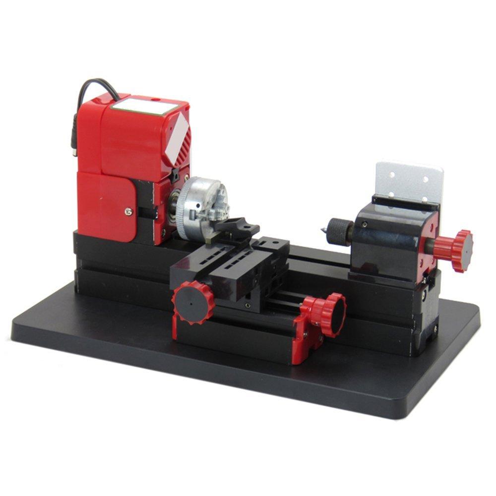 Zinnor Mini Metal Lathe DIY 6 in 1 Multi-functional Motorized Transformer Multipurpose Machine Jigsaw Grinder Driller Plastic Wood Lathe Drilling Sanding Turning Milling Sawing Machine Tool Kit