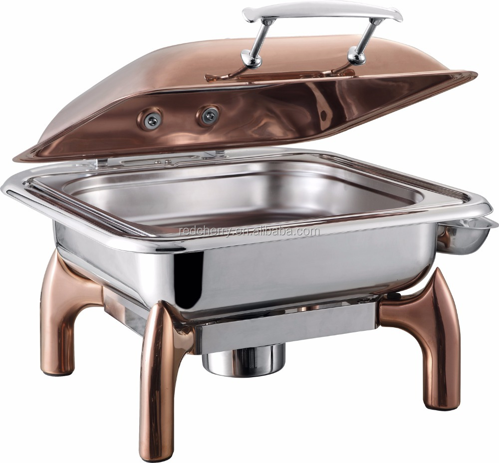 ZQS017 6L luxury square chafing dish rose gold food warmer 1/1 1/2 pan