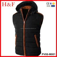 Mens winter quilted vest down padding jacket sleeveless outwear black