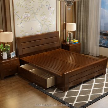 Walnut Bedroom Furniture Solid Wood Double Bed With Drawers