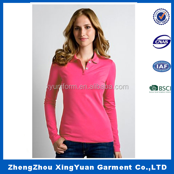 2016 korean fashion women casual long sleeve polo t-shirt clothing manufacturer in china
