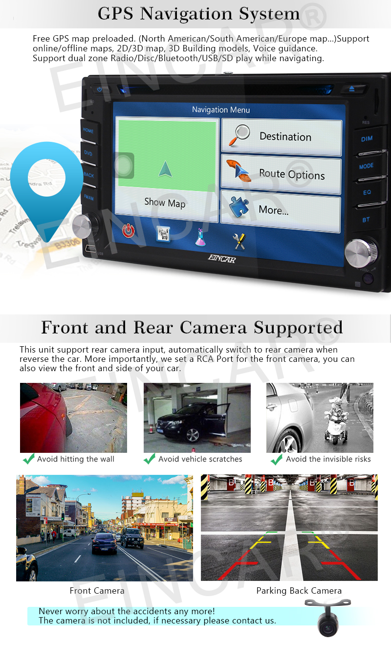 Android 6 0 Car Stereo In Dash Navigation GPS Car Radio 2 Din Vehicle DVD  Player FM Radio OBD2 WiFi Mirrorlink+Reversing Camera