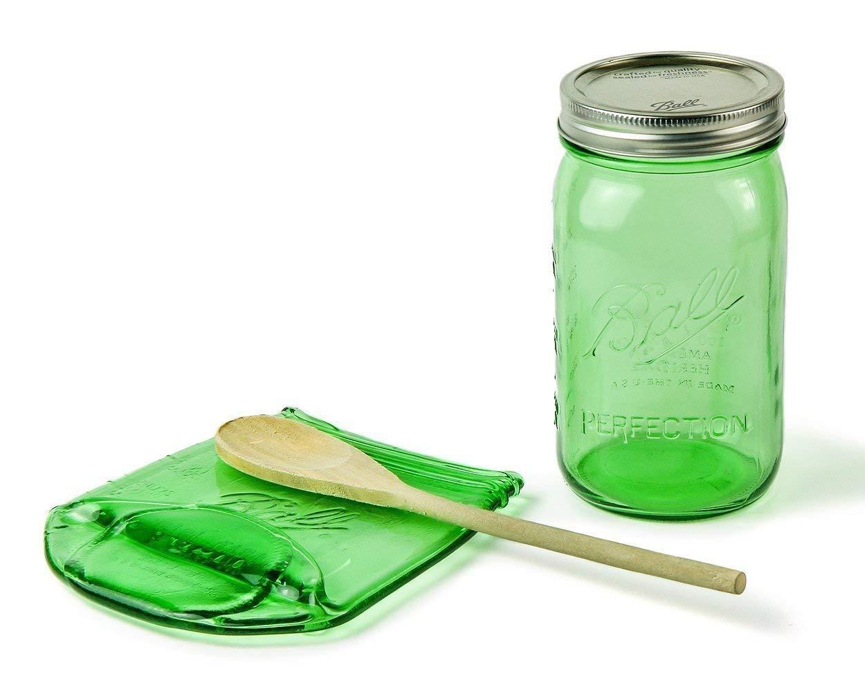 Large Green Melted Mason Jar Spoon Rest, Vintage Style Ball Jar