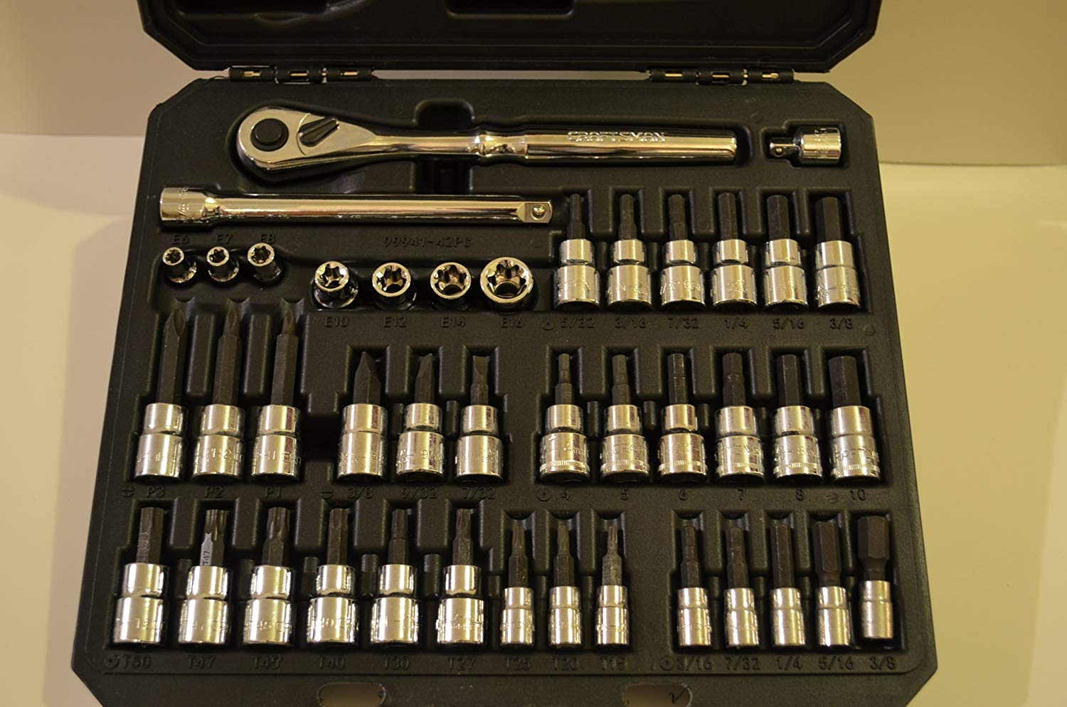 Craftsman 42 piece Drive Bit and Torx Bit Socket Wrench Set with Polished Ratchet