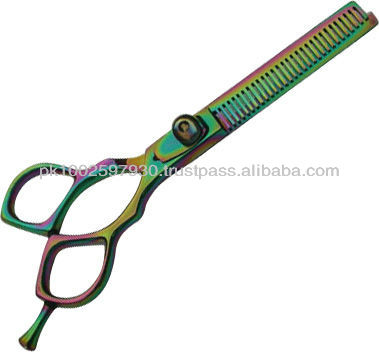 Rainbow color Titanium coated Thinning Scissors