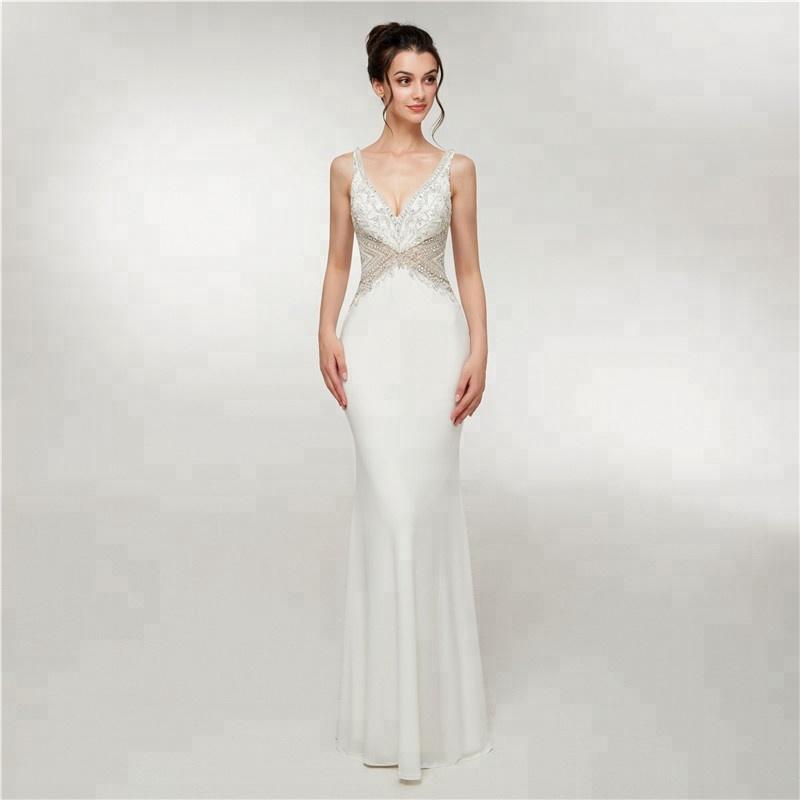 87dada5e9e9f7 V Boyun Düşük Geri Beyaz Streç Kumaş 2018 Yeni Gelen Akşam Elbise Moda Uzun  Lüks Boncuklu