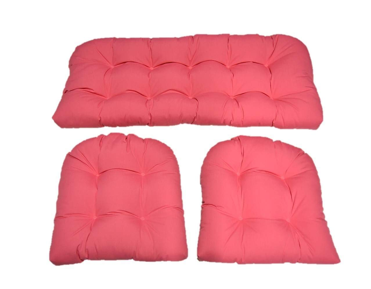 3 Piece Wicker Cushion Set - Solid Rose petal Pink Indoor / Outdoor Fabric Cushion for Wicker Loveseat Settee & 2 Matching Chair Cushions