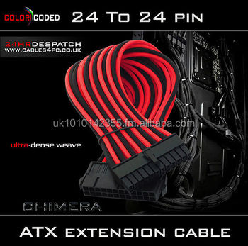 24 pin ATX Extension Cable - BLACK & RED