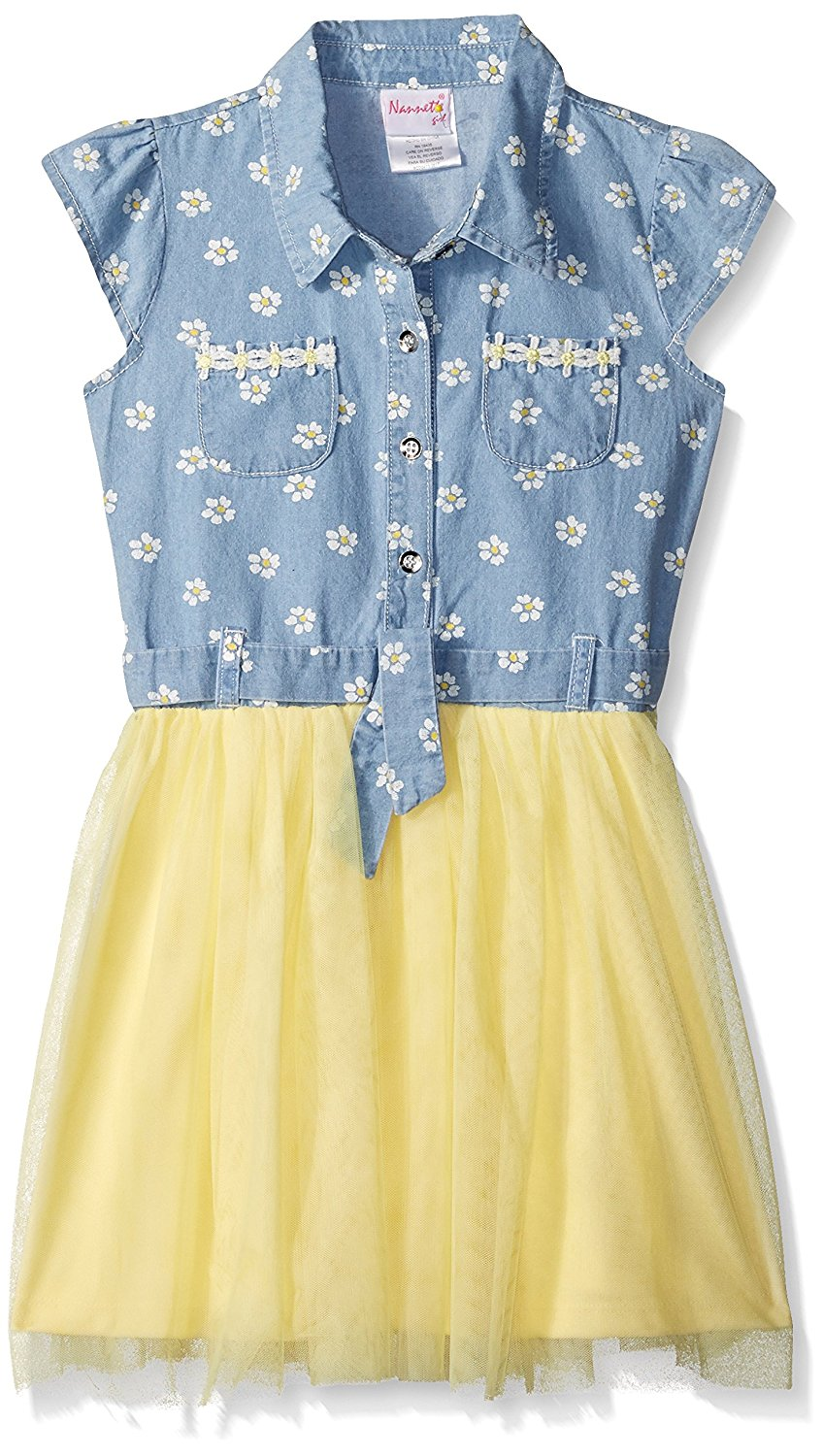 Nannette Girls' Printed Denim Dress Wit Daisy Trim Tulle Skirt