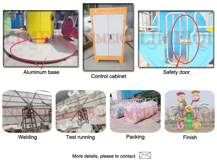 Limeiqi Great Funfair Rides Kids Amusement Games 12 Seats 6 Cabins Mini Ferris Wheel For Sightseeing