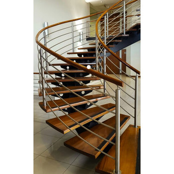DIY Curve Wood Mental Stairs Anti Slip Helix Staircase