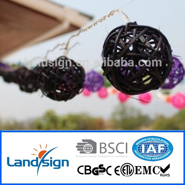 2015 China New Solar Light outdoor hanging light balls Beautiful bamboo string light ball for Christmas decoration