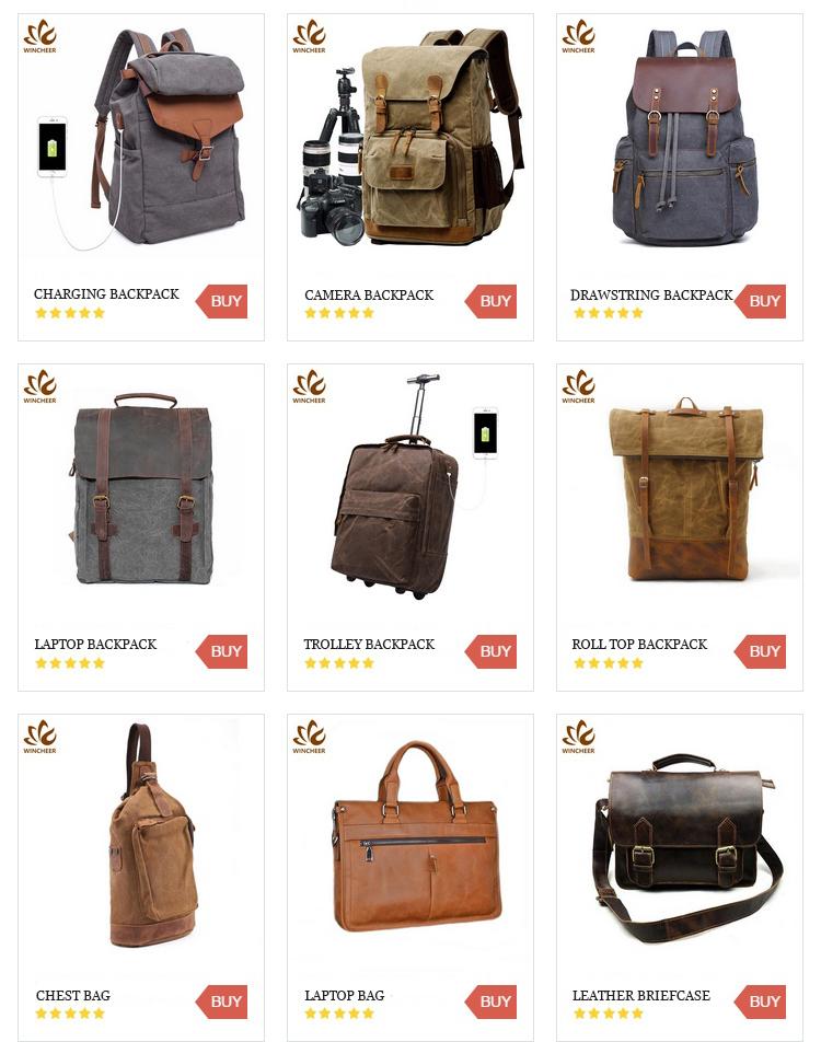 Wincheer wholesale fashion vintage canvas backpacks men college bags laptop backpack bag