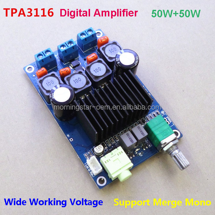 TPA3116 Digital Professional mini amplifier pcb board module DC12-24V with switch potentiometer Parallel Mono power amplifier