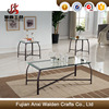 Black metal 3 piece living room glass top coffee table and 2 end tables occasional set