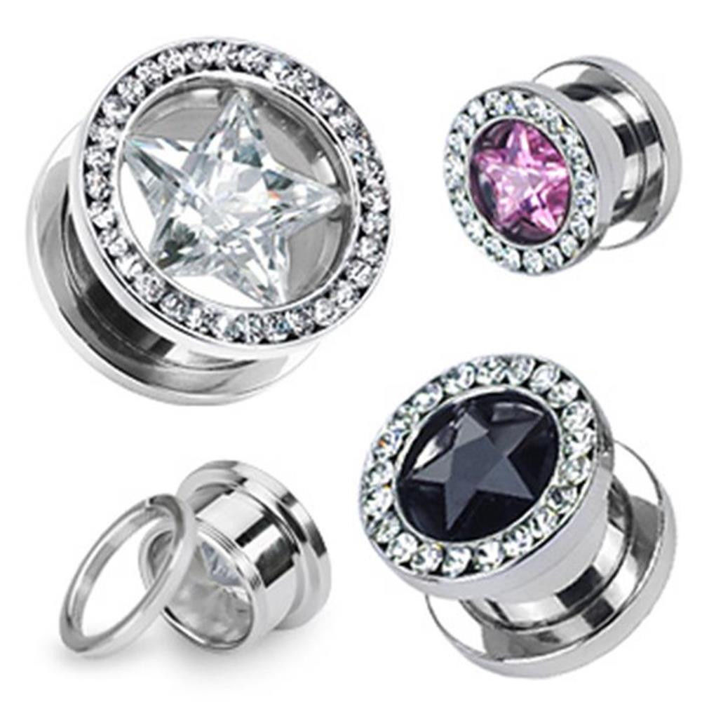 316L Steel Star Zircon Ear Plugs Tunnel Piercing