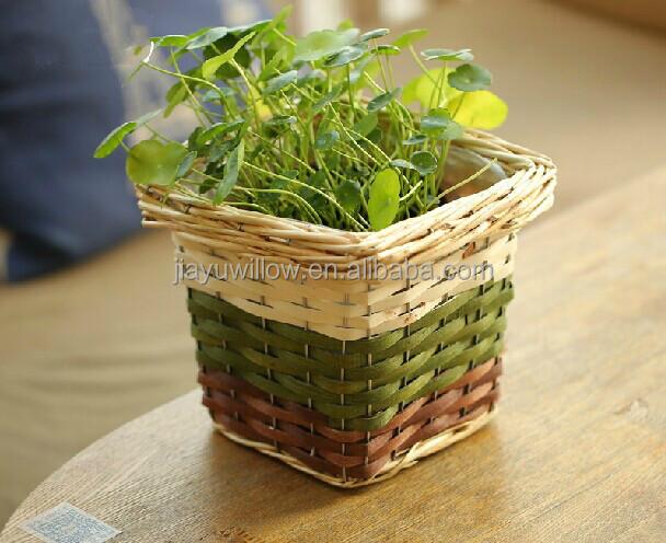 Handmade Antique Wood Plant Pot Plant Basket Artificial Flower ...