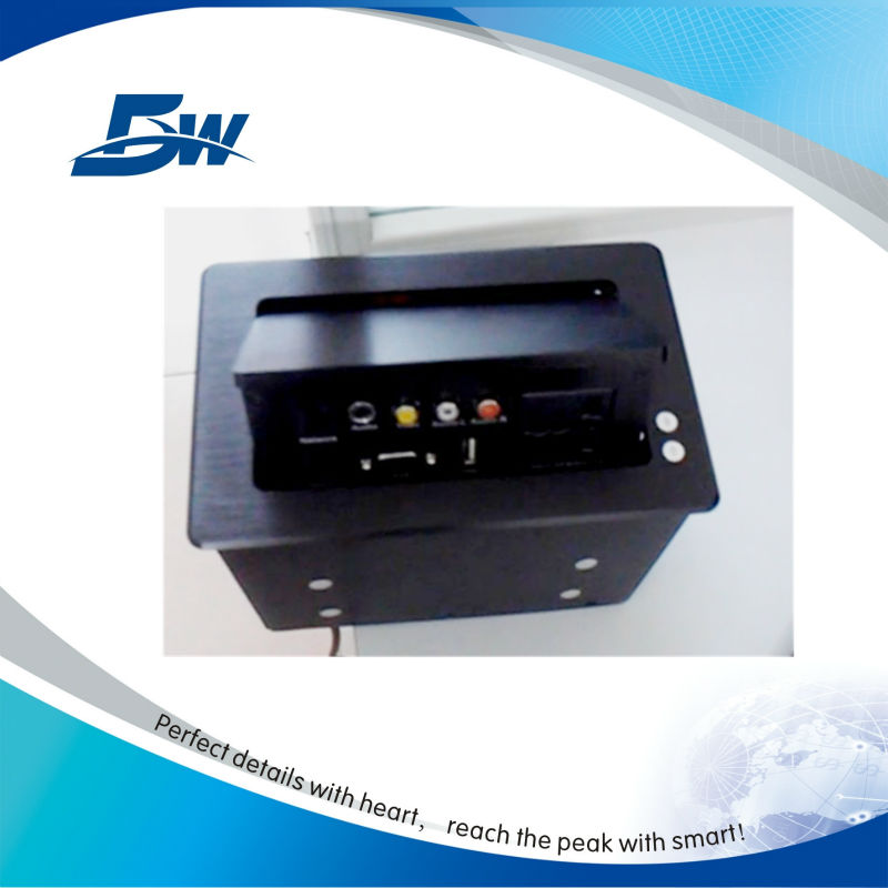 Aluminium brush cable box with two power socket for smart system