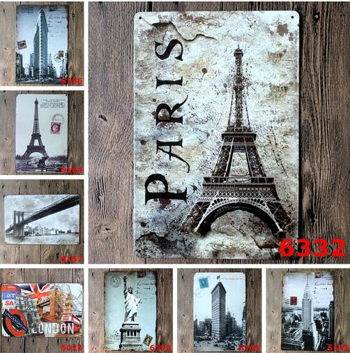 5pcs/lot Metal poster home decor painting retro chic gift bar cafe tavern shop plaque tin signs 20*30CM free shipping