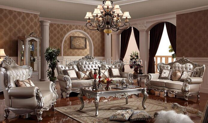 European style villa living room sofa set luxury wood carved with leather sectional furniture - Add luxurious look home royal sofa living room ...
