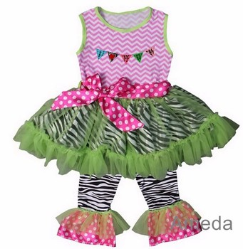 I Love MOM Flag Pink Chevron Lime Zebra Ruffled Top and Pants Outfit