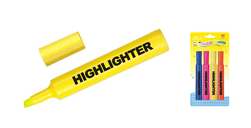yellow fluoresence marker highlighter pen