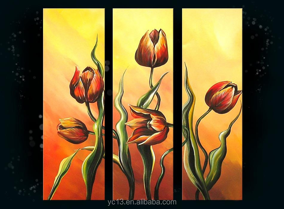 3pc panel 100%handmade beautiful decoration flower oil painting