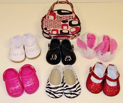 6 Piece SHOES LOT for 18 Inch American Girl Dolls Multi Glitter Shoes, Bunny Slippers, Sandals, Pink Crocs, Purple Shoes and Black White Zebra Shoes #A1010